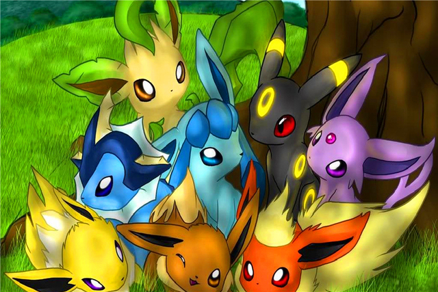 Free Shipping New Anime Wallpapers Custom Canvas Posters Pokemon Eevee Evolutions Stickers Home Decoration