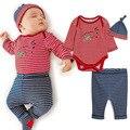 Nuevo 2016 Infantil Del Bebé establece ropa de bebé A Rayas Body + hat + Pants