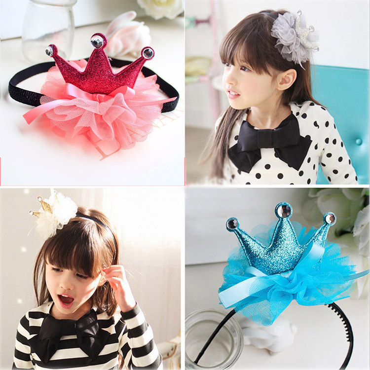 2015 new girl fashion gauze crown headband Princess high grade crown hair band 20ps/lot crown headband cute lace flower hair band photo props 1st birthday headband princess glitter crown birthday crown