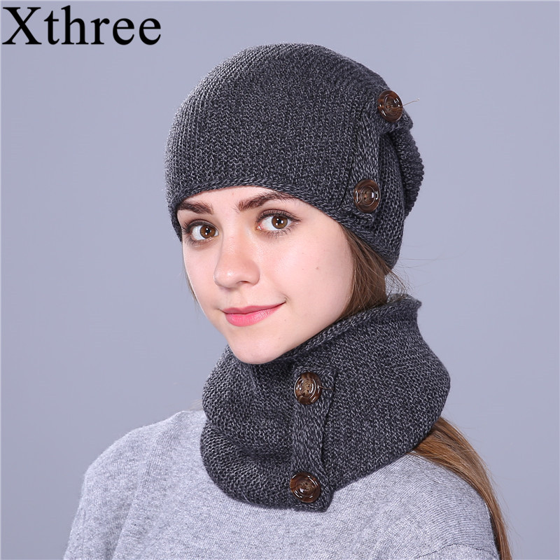 Xthree Winter Hat Scarf Women Brand-New Thick-Cap Fashion for Knitted Beanie