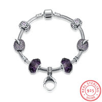 Ann Snow European Original Crown Charm Bracelets 100 925 Sterling Silver Purple Beads Unique DIY Bracelets
