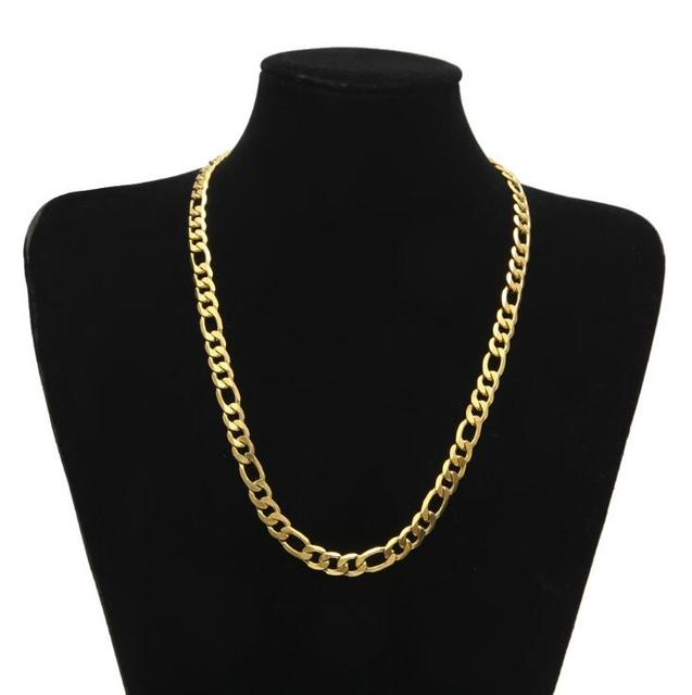 2017 hip hop bling Wide Figaro Link Chain Gold Filled Necklace Men chain Women stainless steel 30″ 7mm Necklace Jewelry