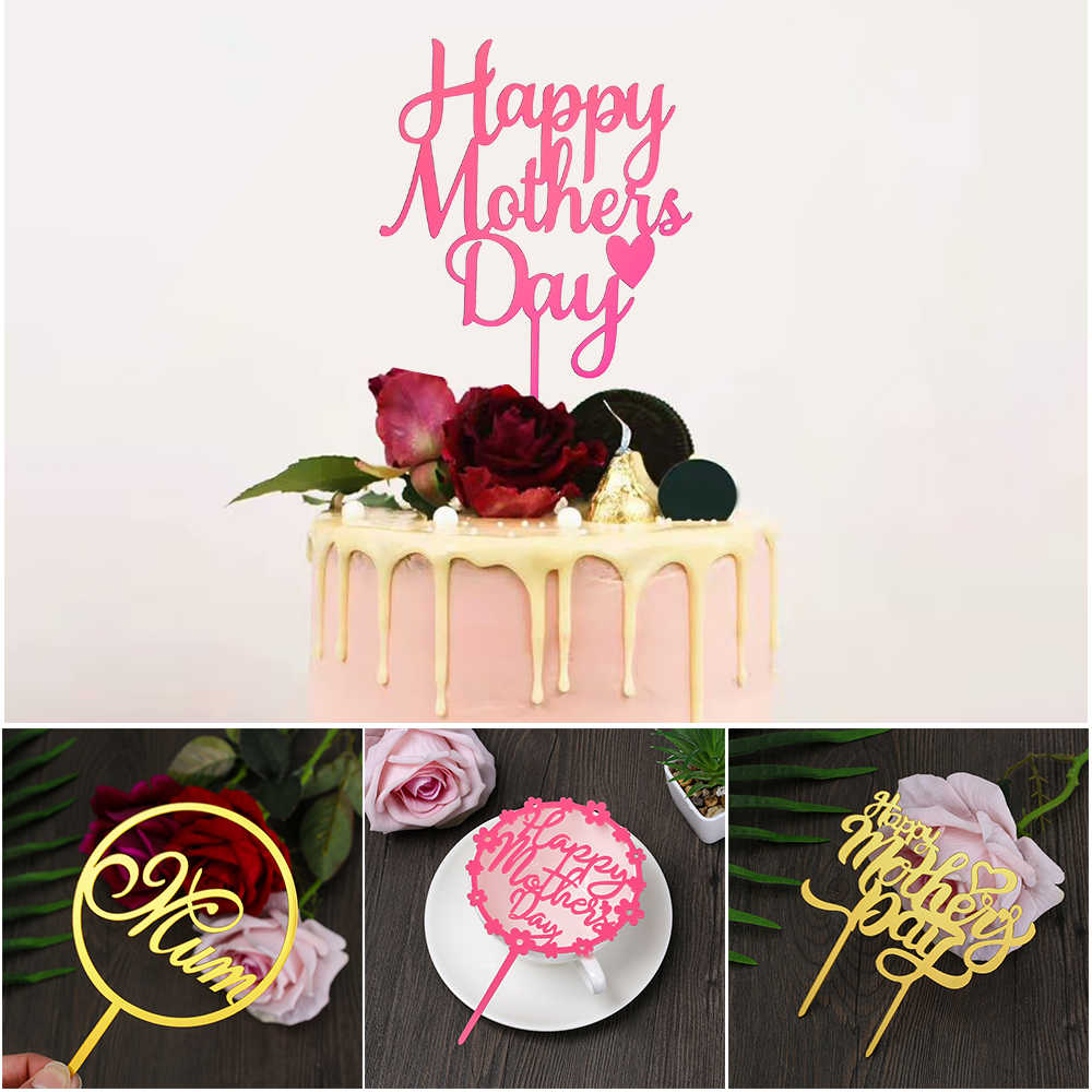 Mother's Day Acrylic Cake Toppers Mum Letters Print Cake Decoration Love Mother Birthday Party Decorative Supplies DIY Gifts