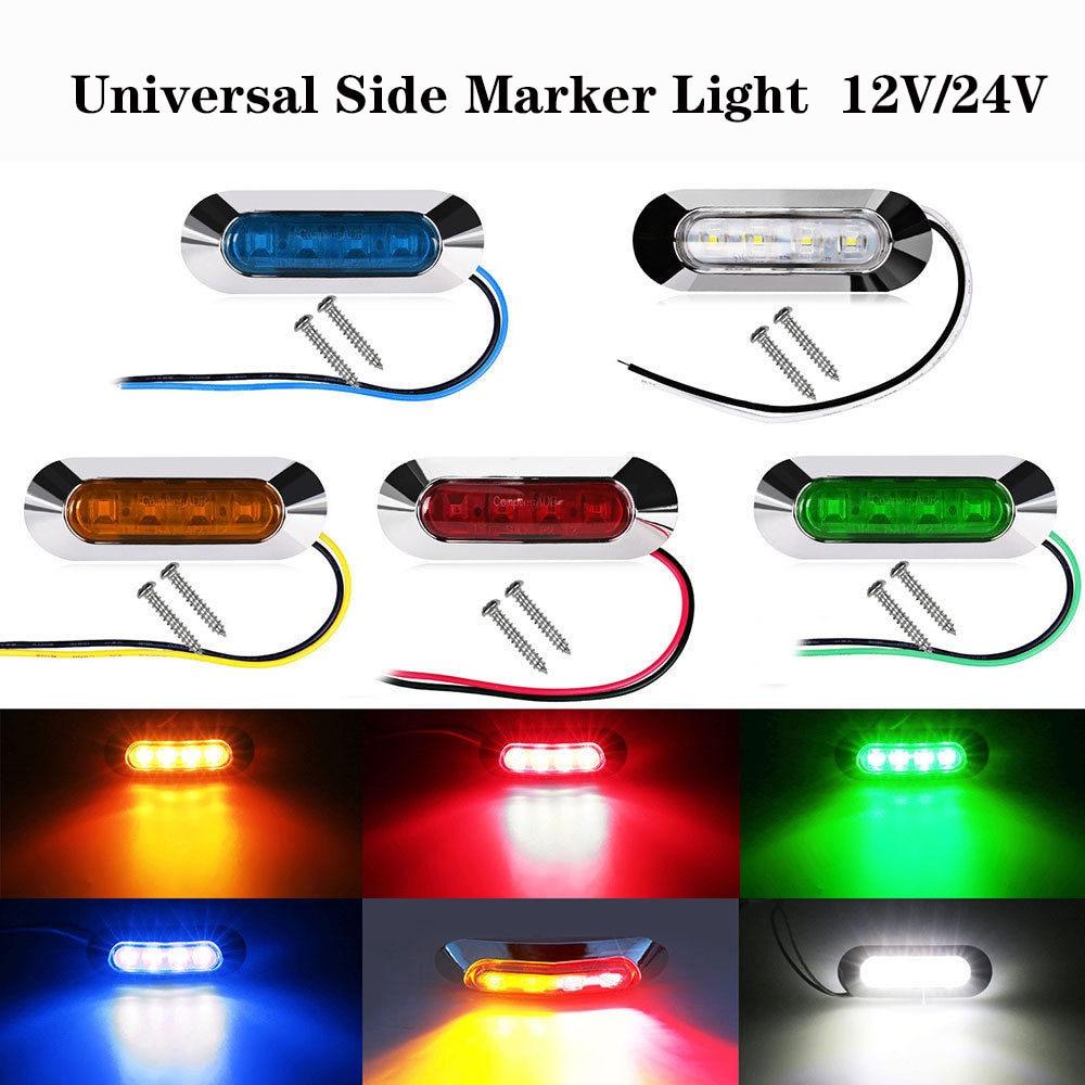 Waterproof 4 LED Side Mark Lamp Clearance Indicator Light Car Truck Trailer Lorry 12V-24V Light Red/White/Amber/Blue/Green