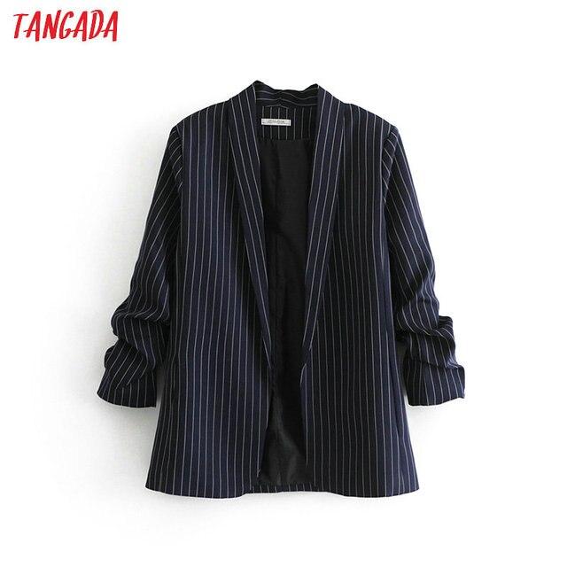 Tangada women striped blazer print pockets long sleeve female suit outerwear office ladies work wear casual chic tops DA34