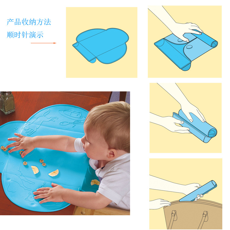 New 45cm Sozzy Placemat Baby Feeding Portable Silicone