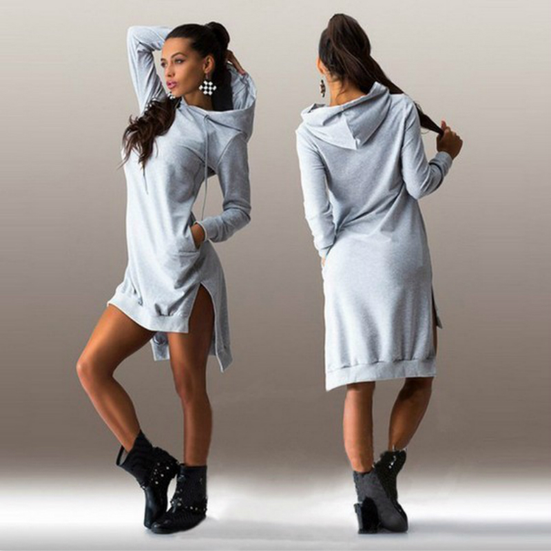 Fahsion Women Jumper Dress Hooded Sweatshirt Vestidos Winter Sweater Dress Sexy Long Sleeve Loose Casual Tunic Hoodie