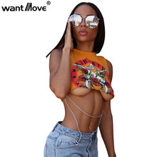 Wantmove 2018 neue mode shirt frauen Kurze ärmellose runde neck sexy metall kette T-shirt JZ057(China)