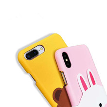 Cony and Brown Bear Leather Phone Case with Pocket For iPhone XS XR XS MAX X 6 6S 7 8 Plus