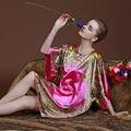SSH010 Nueva Manera de Las Mujeres Atractivas de Seda Imitado Vestido de Noche Falda Del Camisón de Dormir Robe Vestido de La Noche ropa de Dormir Camisón Femenino F