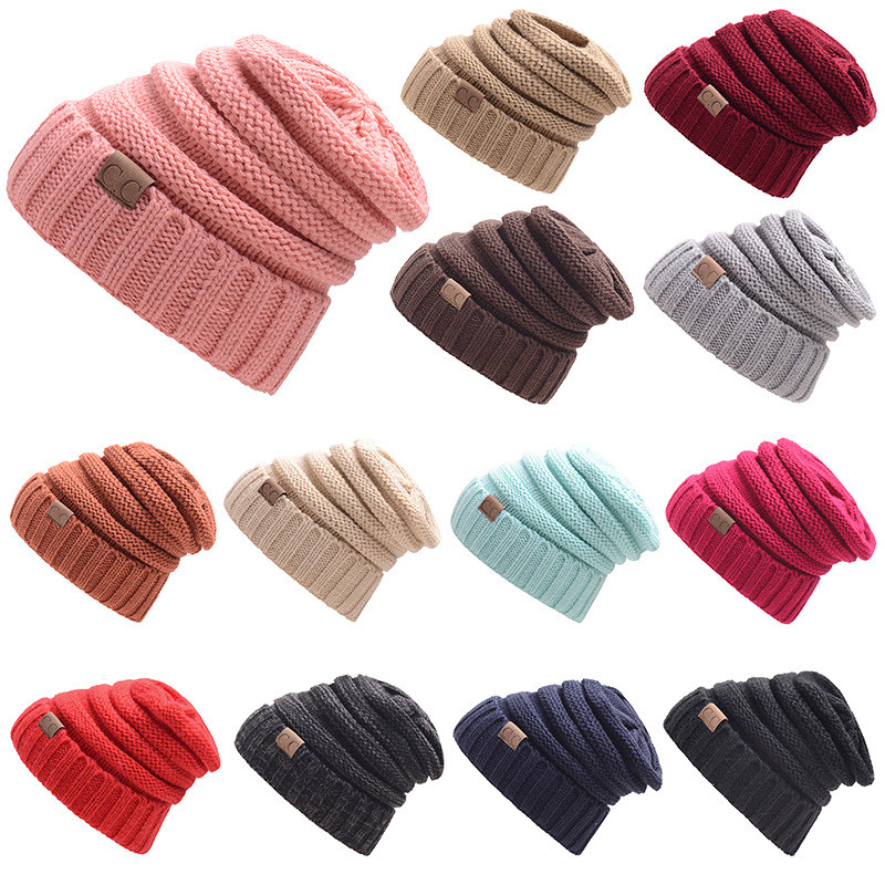 5ede5ba6627 Unisex Winter Knitted Wool Cap Women And Men Folds Casual CC labeling  Beanies Hat Solid 17 Colors Hip-Hop Beanie Cap Gorros BD03