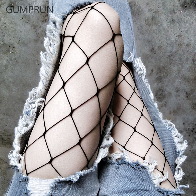 GUMPRUN 2017 Hollow Out Women Pantyhose Nylon Mesh Tights Stocking Slim Sexy Fishnet Pattern Collant Femme Lingerie Pantyhose