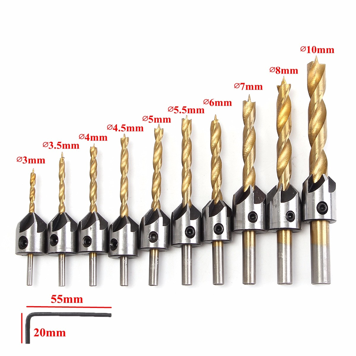 New High Speed Steel Metal Coat Typical Twist Countersink Drill Bit Set Tool 3-10mm Different Sizes HSS Drill Bit Wrench Kit