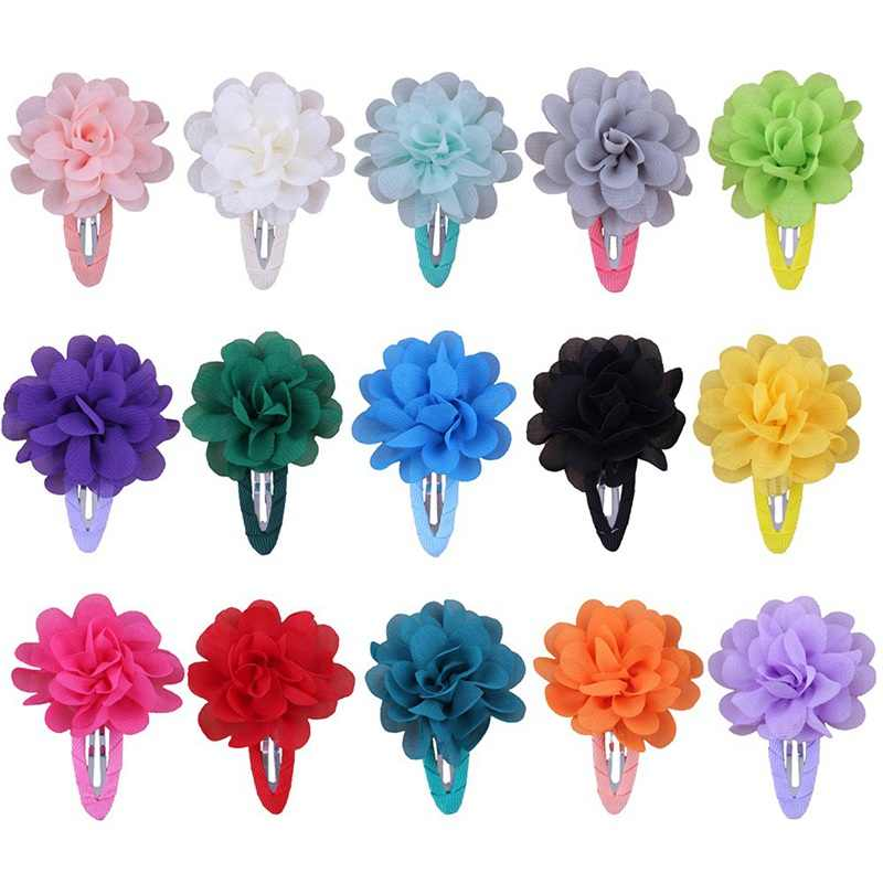 2 Pcs Baby Hair Chiffon Flower Clips Newborn Baby Girl Hair Clips Hair Accessories Kids Hair Barrettes Girls Flower Clips