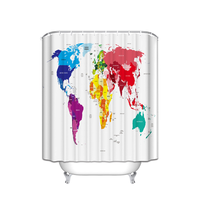 Colorful abstract rainbow colors large artworld map print home colorful abstract rainbow colors large artworld map print home decor fabric shower curtain gumiabroncs Image collections