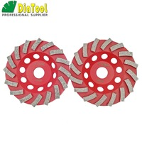 DIATOOL 2PK Dia 125MM Segmented Turbo Diamond Grinding Cup Wheel For Concrete And Masonry Material, 5 Diamond Grinding Discs
