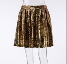 Sexy Gold Sequins Mini Skirt Women 2019 Summer Chic A-line Night Club Wear Pleated Skirts Female Party Jupe Femme