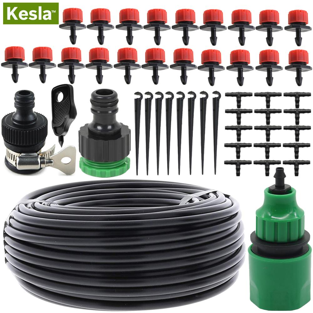 KESLA 5M-25M DIY Drip Irrigation System Automatic Watering Garden Hose Micro Drip Garden Watering Kits With Adjustable Drippers