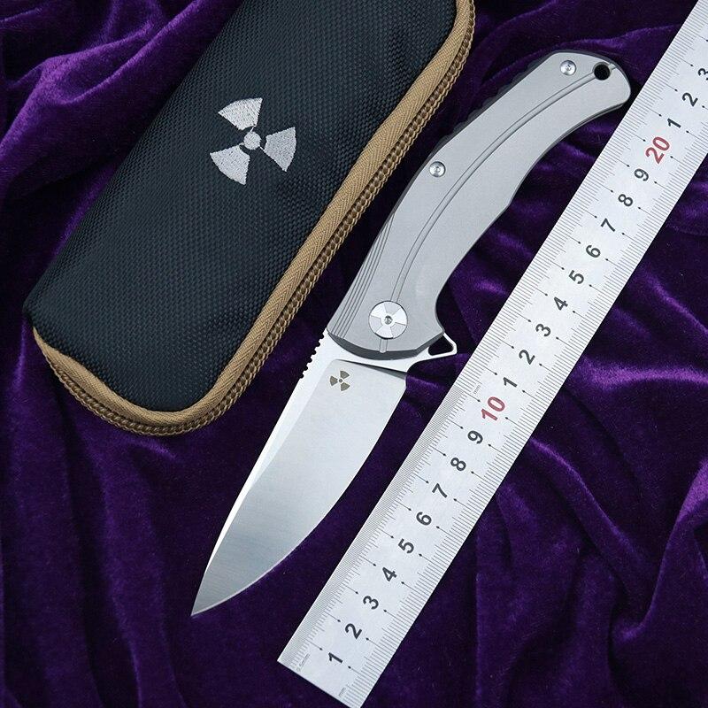 LEMIFSHE JK3215 couteau pliant flip D2 lame titane météorite modèle poignée cuisine extérieur utilitaire fruits couteaux EDC outil