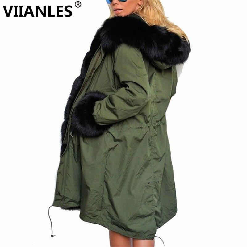 VIIANLES Winter   Jacket   Womens Parkas   Basic     Jackets   Female Women Coat Fur Thickening Cotton Army Green Outwear Coat For Women