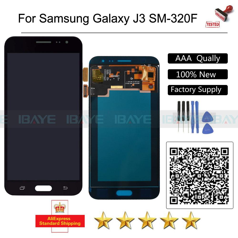 Prix pour Oem lcd pour samsung galaxy j3 lcd sm-320f lcd affichage j320a j320f j320m écran tactile assemblée remplacement noir + outils