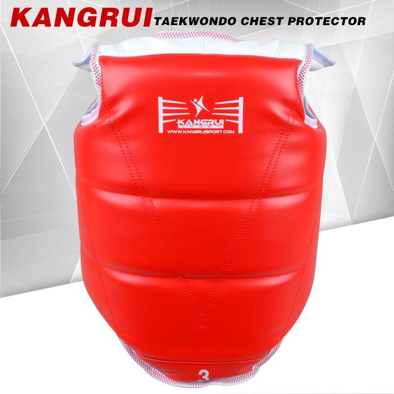 High quality durable taekwondo chest guard PU EVA red blue color artificial leather adult child karate fighting chest protector