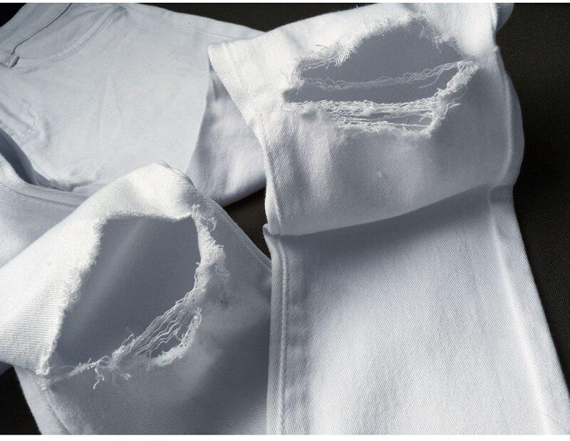 2018 Բարձր իրանի սպիտակ ջինսե անցք - Կանացի հագուստ - Լուսանկար 3