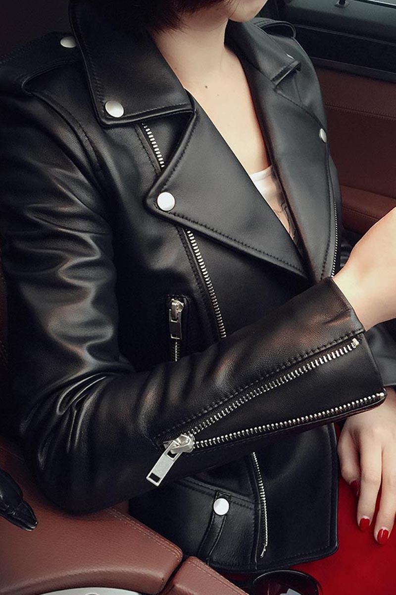 Vestes Nouveau Peau Casaco Survêtement 2018 Hh796 100 Manteau Femelle De Femmes Black Pour Mouton Mince En Veste Courte Cuir Kmetram Véritable Feminino wXq56Tf6