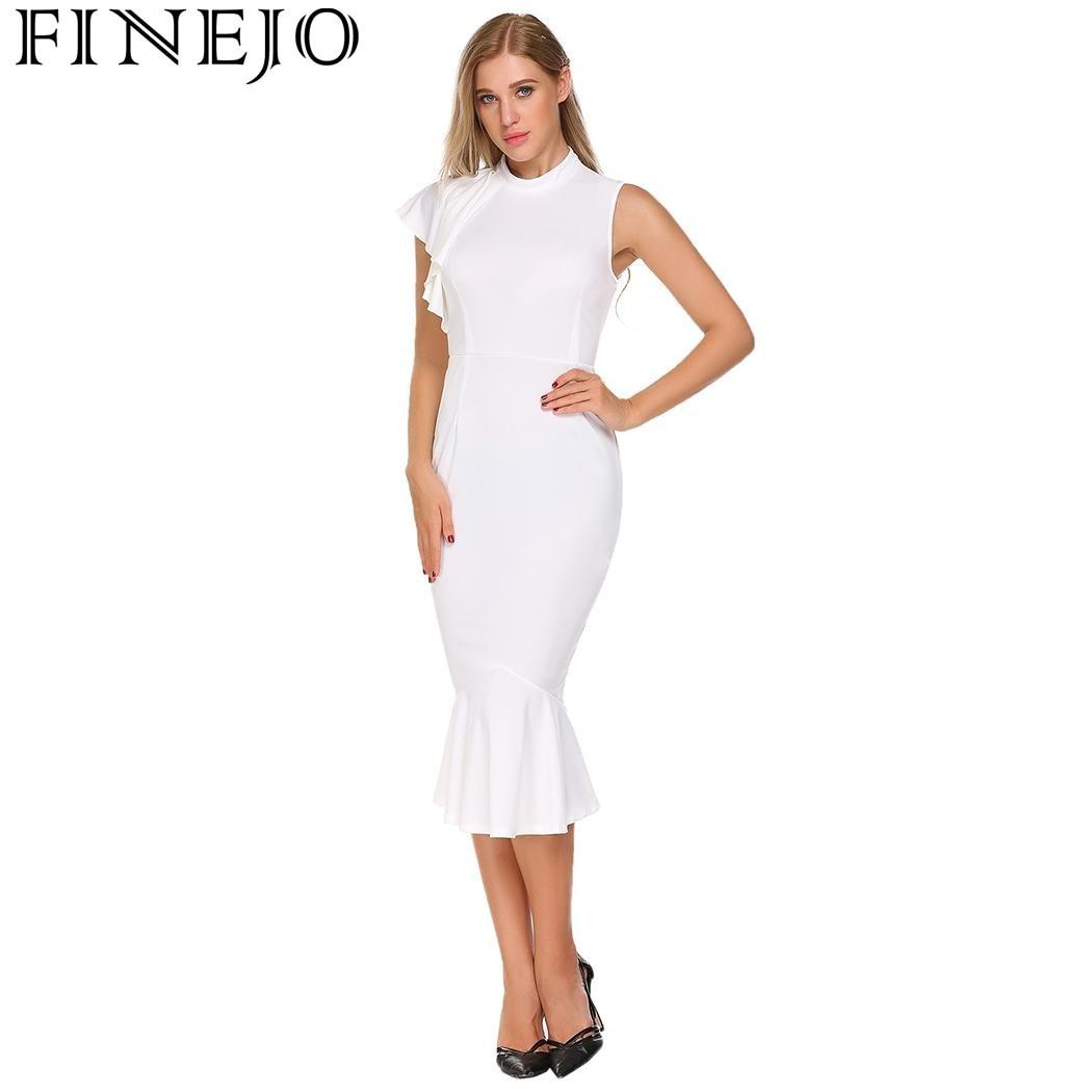 af2783b3c3 Finejo sexy sola manga vestido 2017 nueva moda mujer o cuello sólido  bodycon casual Slim ruched Trompetas mermai Vestidos vestidos en Vestidos  de La ropa de ...