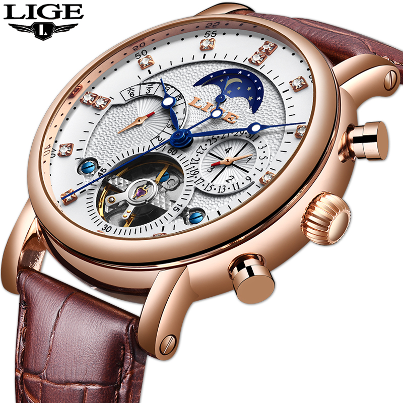 LIGE New Men Watch Mechanical Tourbillon Luxury Fashion Brand Leather Man Sport Watches Mens Automatic Watch Relogio MasculinoLIGE New Men Watch Mechanical Tourbillon Luxury Fashion Brand Leather Man Sport Watches Mens Automatic Watch Relogio Masculino