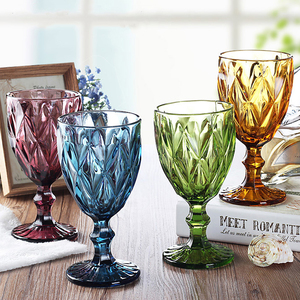 Image 1 - Wine Glass Cups Multicolor Carved Goblet Whiskey Red Wine Glasses 300ML Wedding Party Champagne Flutes Bar Restaurant Home Tools