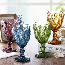 Óculos de vidro vinho esculpido multicolorido, óculos de 300ml para festa de casamento, champanhe, restaurante, casa e ferramentas