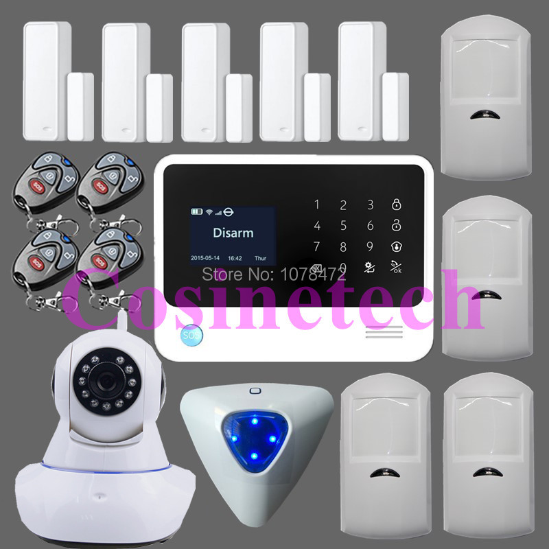 G90B alarm system with wifi IP camera,wireless PIR motion detector, GSM WIFI Home Alarm Systeme with strobe siren door sensor home security camera system gsm 3g ip camera wireless sms camera with gsm alarm system siren strobe pir motion control w12d