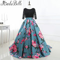 Ball Gown Printing Long Floral Prom Dresses Black Lace Prom Gowns Party Dress Women Formal Evening Gowns 2017 Robe De Bal Longue