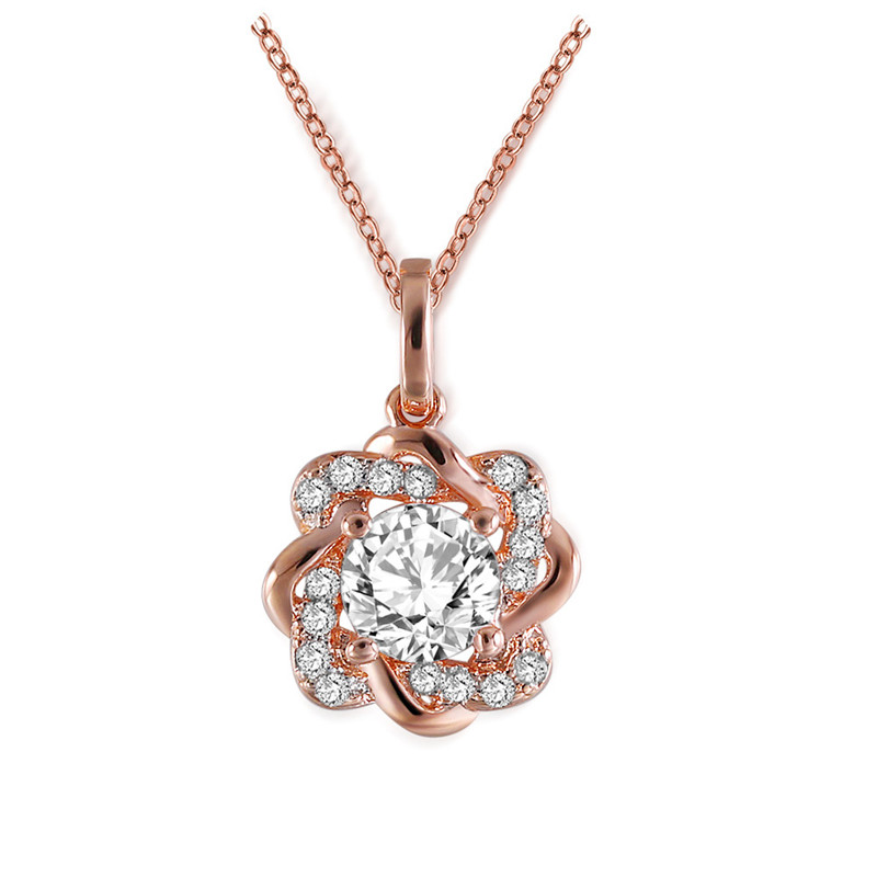 Aliexpress Com Buy 1440pcs Gold Bottom Crystal Clear: ROXI Charm Long Necklace With Clear Zircon Rose Gold Chain