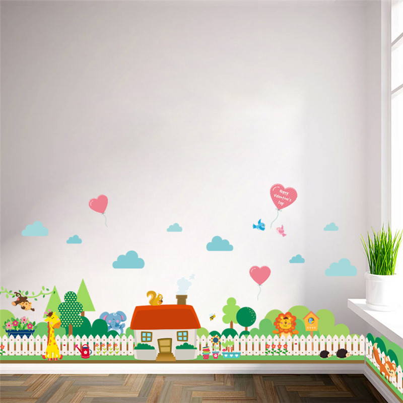 Forest Animal Lion Giraffe Village House Fence Tree Wall Stickers
