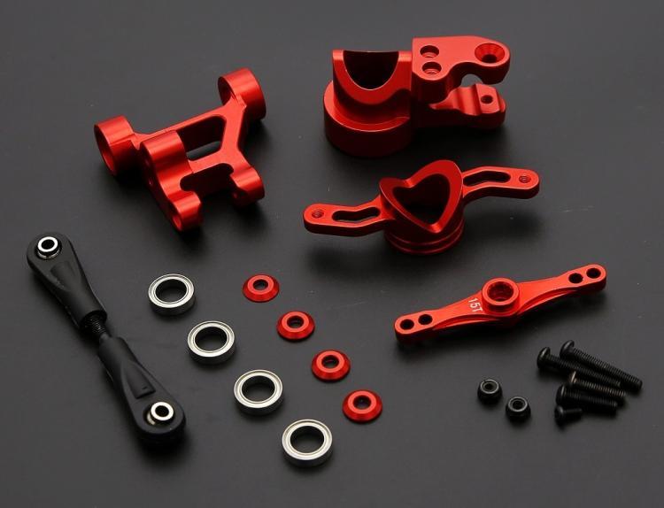 Di alluminio Push-Pull Sterzo Braccio Del Tergicristallo Doppio Cog 15 t 17 t Kit per 1/5 di scala LOSI 5IVE-T Rovan LT e SLT