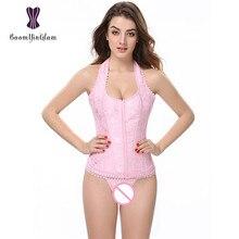 3 ganchos Fecho Rosa Corpo Shapewear das Mulheres Moda Elegante Halter Cetim Jacquard Borda Do Laço Espartilho 842 #