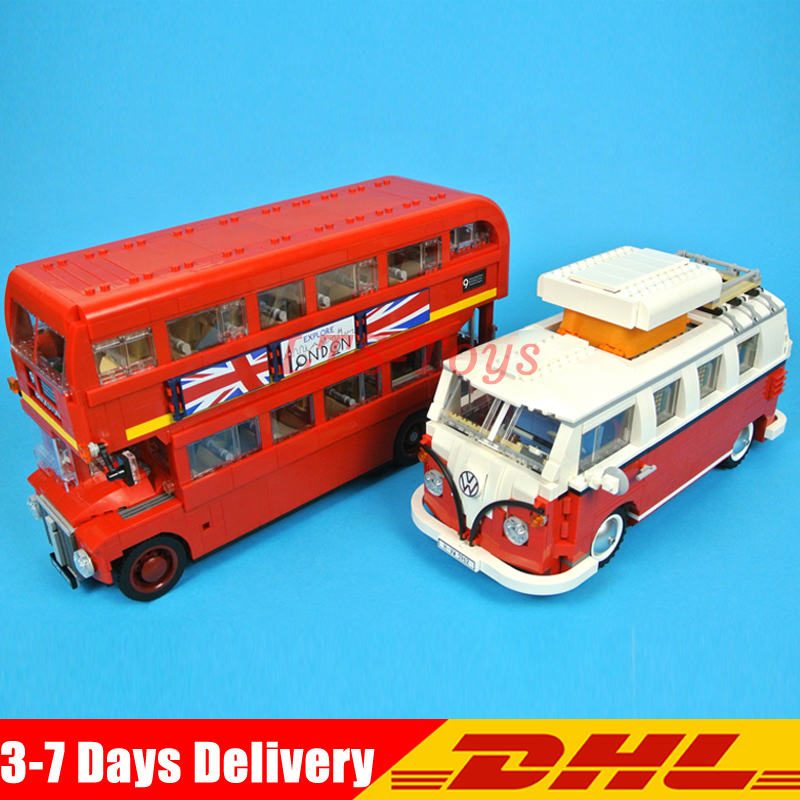 In Stock Lepin 21045 London Bus+21001 Volkswagen T1 Camper Van Model Building Children Educational Blocks Bricks Toy 10220 10258 lepin 21045 united kingdom britain london double decker bus building kit blocks bricks toy for gift 10258