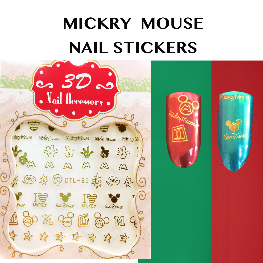 tessie butik Mickey Mouse Nail 3D Nail Art Stickers Nail Dekaler Cinderella Princess Cartoon Stickers Gold Nail Stickers