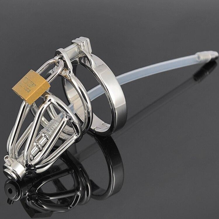 Buy short small size Stainless steel male chastity cage device Silicone Urethral sound tube plug CB6000s bondagebelt sex toy