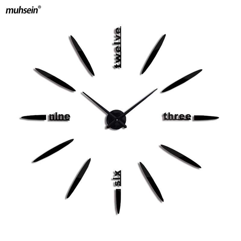 重复modern Creative Acrylic Brief Quartz Mirror Wall Clock Watches Style Home Decor Decoration Living Room Fashion Classic