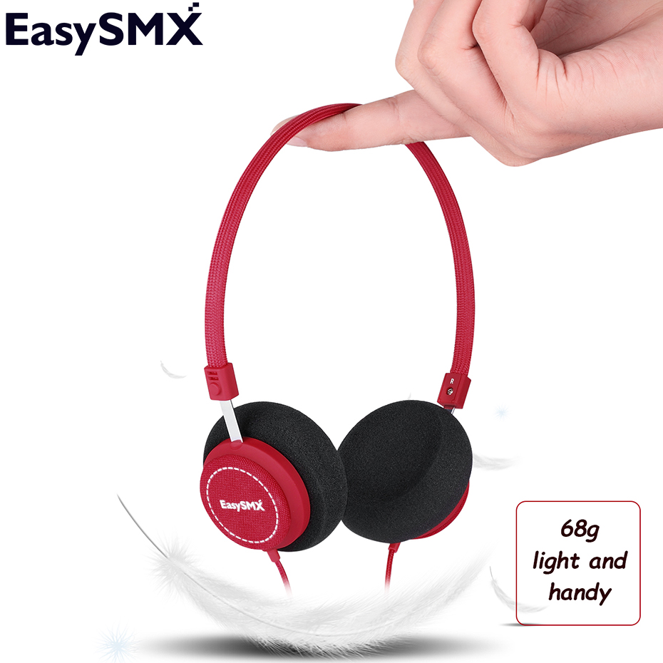 Headphones EasySMX M110 Lightweight On-Ear Music Headphones with Microphone Stereo Bass Earphones for iphone Xiaomi Smartphone