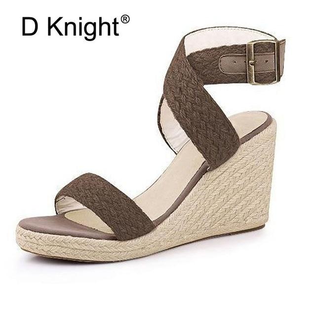 Elegant women's wedges sandals for women 2018 new cane platform high heels sandalias mujer open toe high-heeled shoes woman