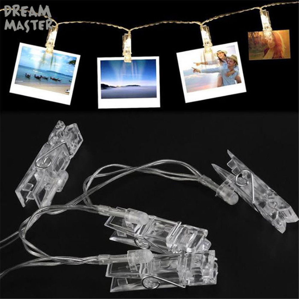 LED String lights Card Photo Clip Holder Fairy Garland lamp For Christmas New Year Wedding Party Decoration Battery holiday lamp Pakistan