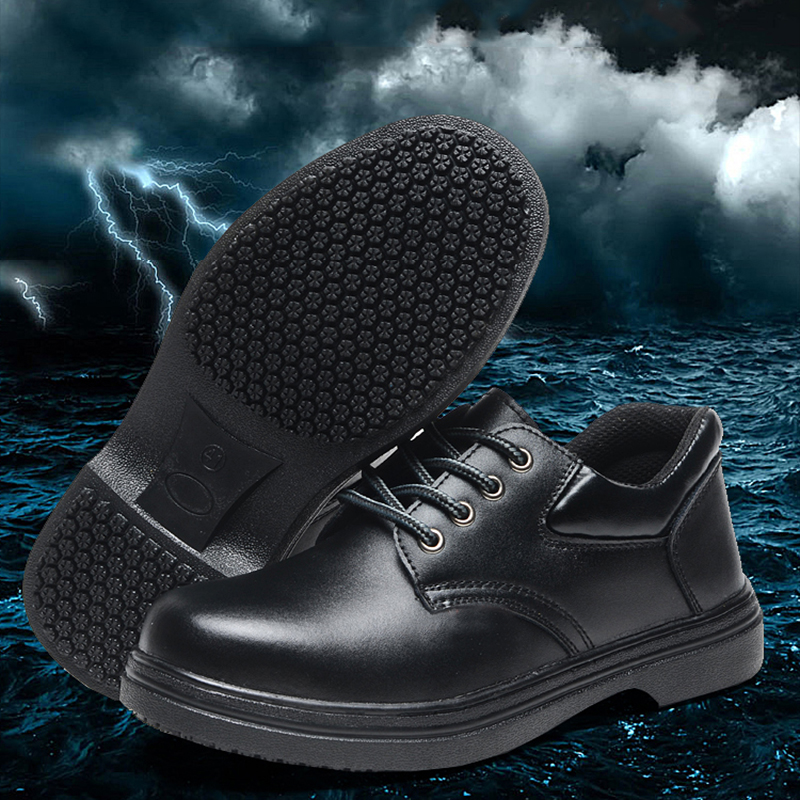 Super Slip Resistant safety shoe For Cook Anti-Puncture Oil Resistant Wear Resistant Men Steel Toe Safety Work Shoes Steel soft and comfortable work shoe covers slip resistant mens safety footwear used in restaurant sea food shop kitchen chef shoes