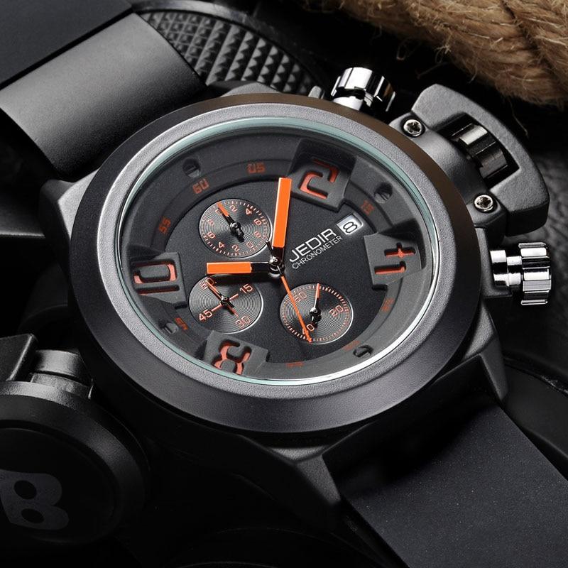 Prix pour Montre Homme JEDIR Casual CHRONOGRAPHE 24 Heures Fonction Sport Montres Hommes Silicone Montres Horloge homme MEGIR Reloj Hombre