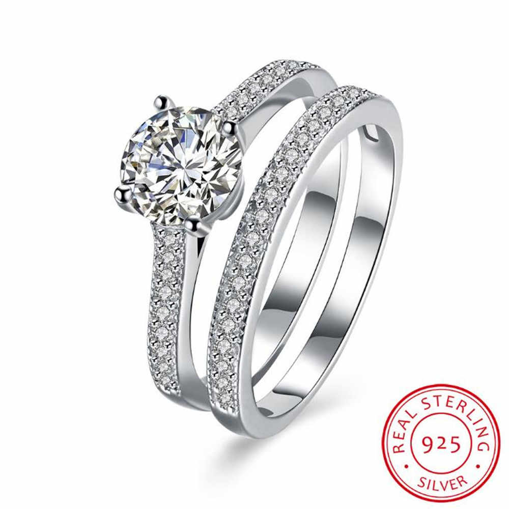 2019 YKNRBPH Promotion Bezel Setting S925 Sterling Engagement Ring Sterling Silver Diamond Ring Set Double Couple Free Shipping