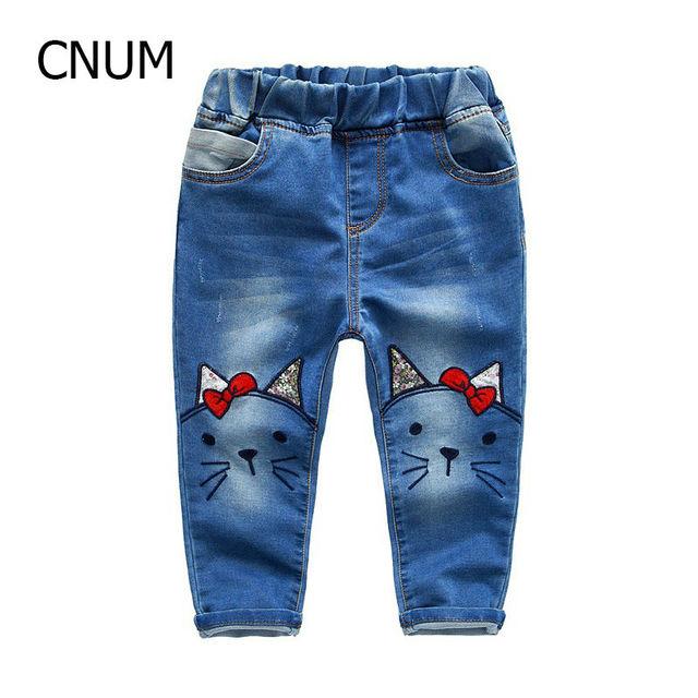 2017 Primavera Niñas Denim Jeans Nuevos Pantalones de Las Muchachas Bordadas Arco Bordado para Niñas Lavan Pantalones de Mezclilla Otoño Ropa de Las Muchachas