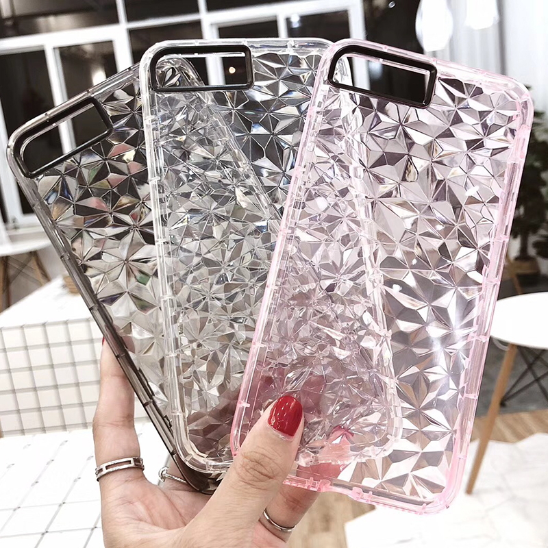 3D Diamond Pattern Phone Case For iPhone X Luxury Ultra Thin Soft TPU Cases For iPhone 7 8 6 6s Plus 5 5 S SE Shining Cover Capa (1)